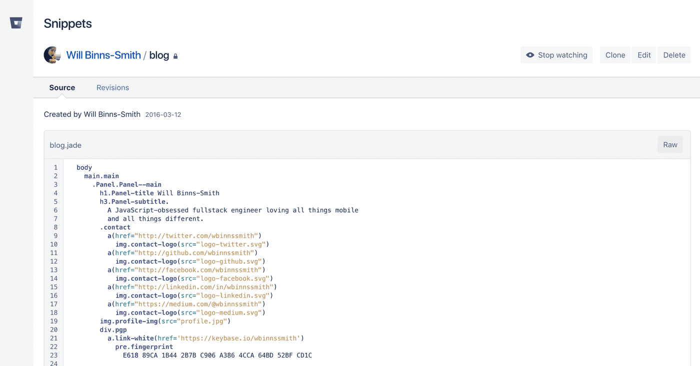 Bitbucket Snippets Screenshot
